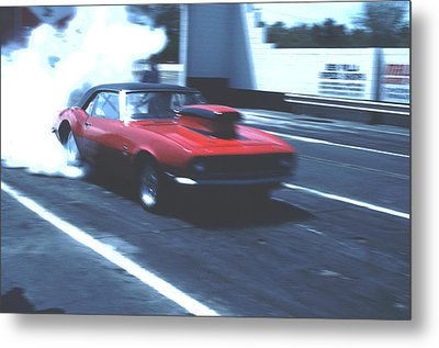 Stock Car Burning Rubber Metal Print