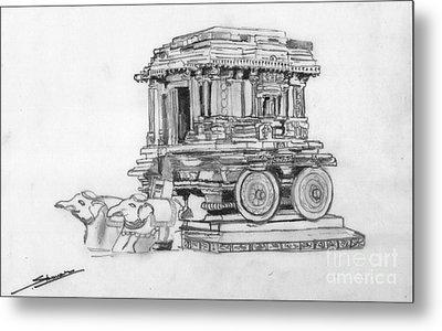 Stone Chariot Hampi Vijayanagar Empire Metal Print by Shashi Kumar