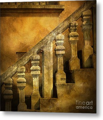 Stone Stairs And Balustrade. Metal Print by Bernard Jaubert