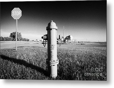 Stop Sign Against Blue Sky And Red Darling Valve Fire Hydrant In Rural Michigan North Dakota Usa Metal Print by Joe Fox