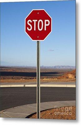 Stop Sign In The Desert Metal Print by Paul Edmondson
