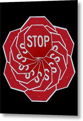 Stop Sign Kalidescope Metal Print by Denise Keegan Frawley