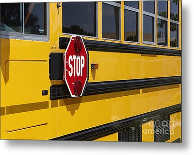 Stop Sign On A School Bus Metal Print by Skip Nall