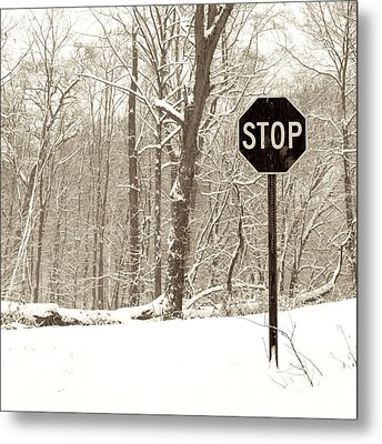 Stop Snowing Metal Print by John Stephens