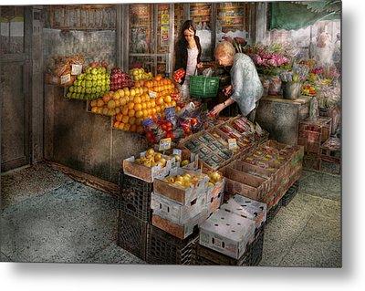 Storefront - Hoboken Nj - Picking Out Fresh Fruit Metal Print by Mike Savad