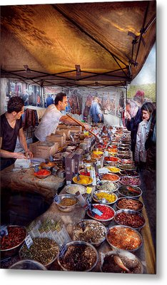 Storefront - The Open Air Tea And Spice Market  Metal Print by Mike Savad
