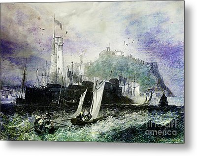 Storm At Scarborough Metal Print by Lianne Schneider