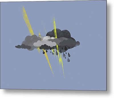 Storm Clouds, Lightning And Rain Metal Print
