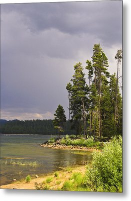 Metal Print featuring the photograph Storm Clouds Over A Lake by Anne Mott