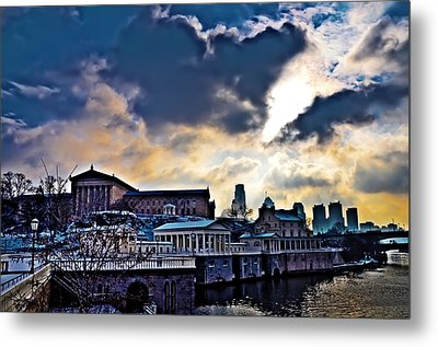 Storm Clouds Over Philadelphia Metal Print by Bill Cannon