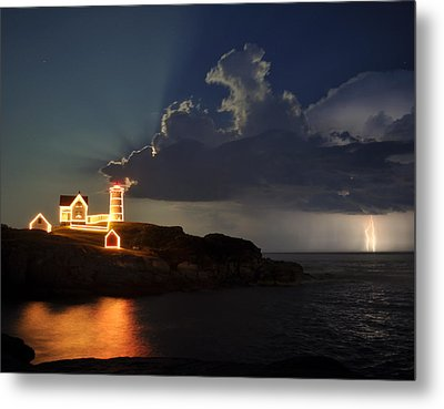 Storm Energizes The Lightning And The Lighthouse Metal Print by Rick Frost