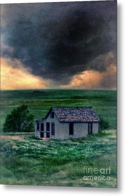Storm Over Abandoned House Metal Print by Jill Battaglia