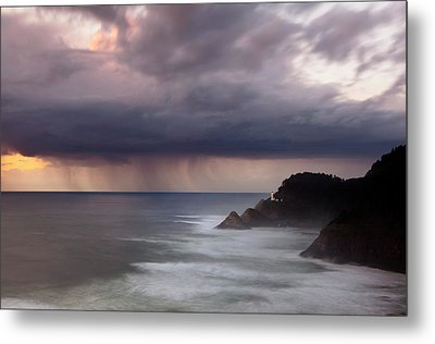 Storm Over Heceta Head  Metal Print by Keith Kapple