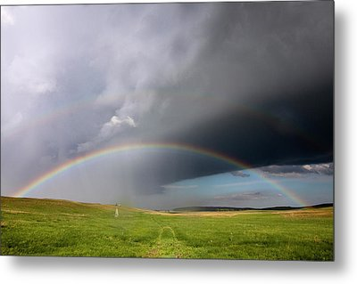 Storm Rainbow Prairie Metal Print by Ryan McGinnis