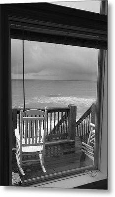 Storm-rocked Beach Chairs Metal Print