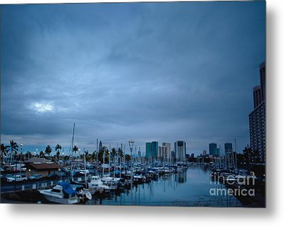 Stormy Skies Over Boat Harbor At Night, Honolulu, Hawaii Metal Print by Inti St. Clair