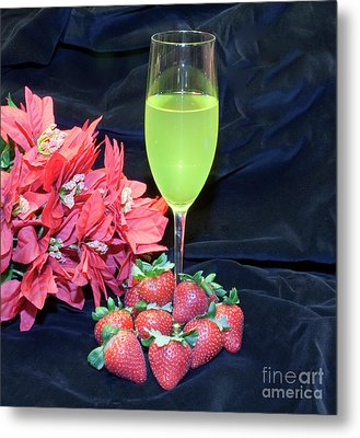 Strawberries And Wine Metal Print by Michael Waters