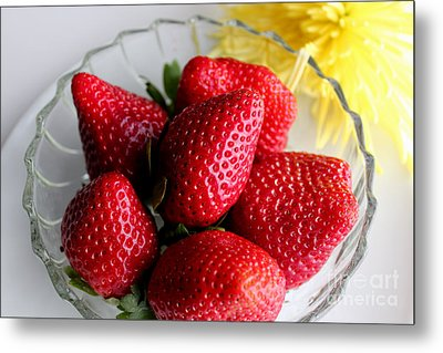 Strawberries And Yellow Mum Metal Print by Barbara Griffin