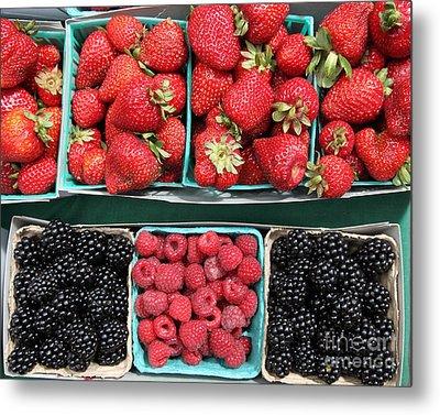 Strawberries Blackberries Rasberries - 5d17809 Metal Print by Wingsdomain Art and Photography