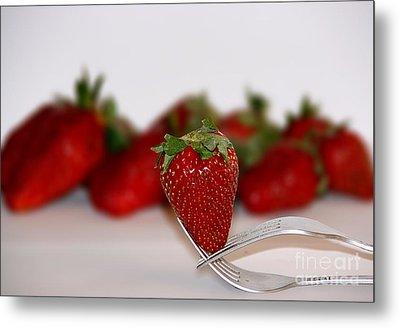 Strawberry On Spoon Metal Print by Soultana Koleska