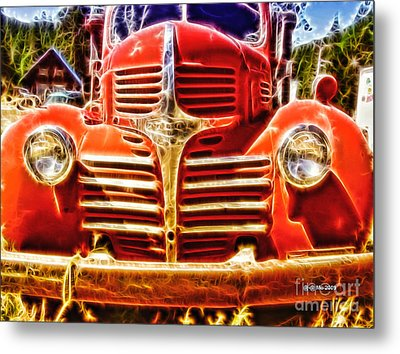 Strawberry Truck Metal Print by Mo T
