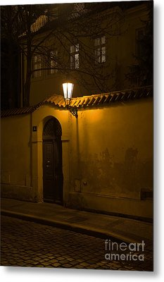 Street In Prague By Night Metal Print