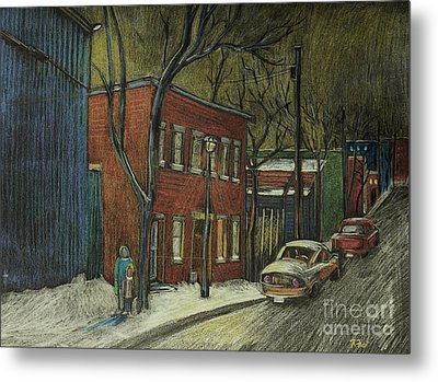 Street Scene In Pointe St. Charles Metal Print by Reb Frost