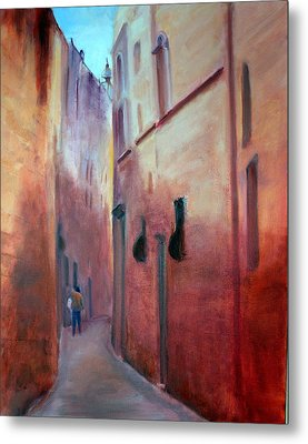 Metal Print featuring the painting Street Scene  Malta by Rosemarie Hakim