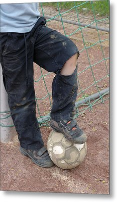 Street Soccer - Torn Trousers And Ball Metal Print by Matthias Hauser