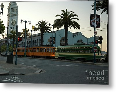 Streetcars At Sunset Metal Print by Tim Mulina