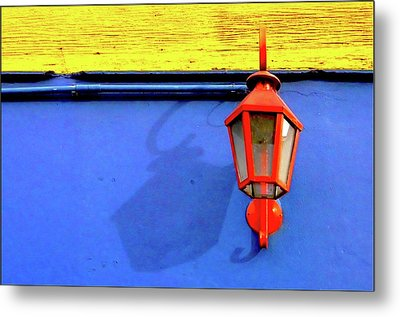 Streetlamp With Primary Colors Metal Print by by Felicitas Molina