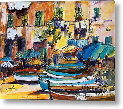 Streets Of Portofino Italy Metal Print by Ginette Callaway