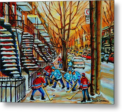 Streets Of Verdun Hockey Art Montreal City Scenes With Winding Staircases And Row Houses Metal Print by Carole Spandau