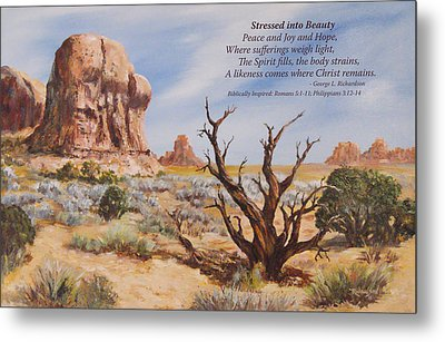 Metal Print featuring the painting Stressed Into Beauty With Poem by George Richardson