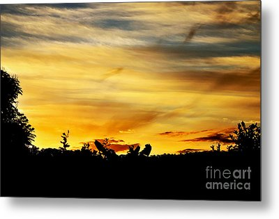 Stripey Sunset Silhouette Metal Print by Kaye Menner