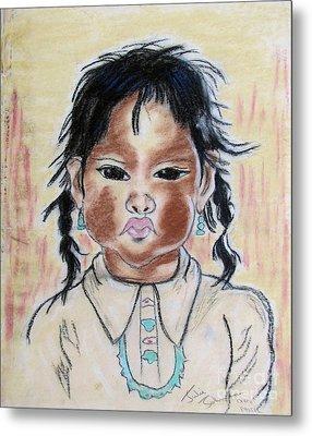 Study Of A Navajo Child Metal Print