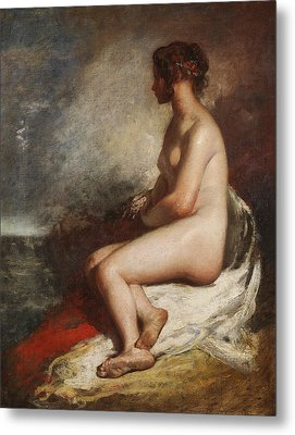 Study Of A Seated Nude Metal Print by William Etty