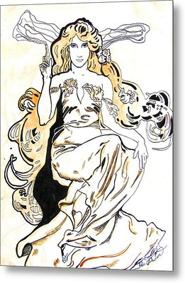 Study Of Art Nouveau After Mucha Metal Print by Julie Coughlin