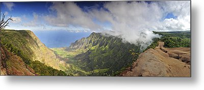 Stunning Panorama Of The Napali Coast In Kauaii Metal Print by Sebastien Coursol