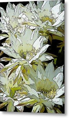 Stylized Cactus Flowers Metal Print by Phyllis Denton