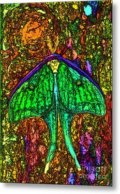 Metal Print featuring the photograph Stylized Luna Moth by Clare VanderVeen