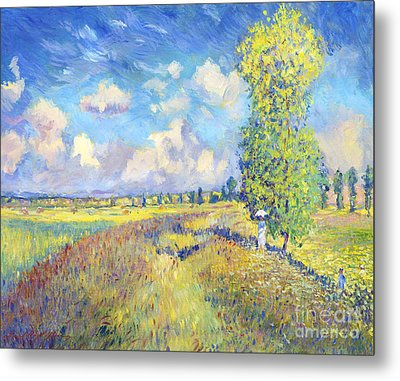 Summer Poppy Fields - Sur Les Traces De Monet Metal Print by David Lloyd Glover