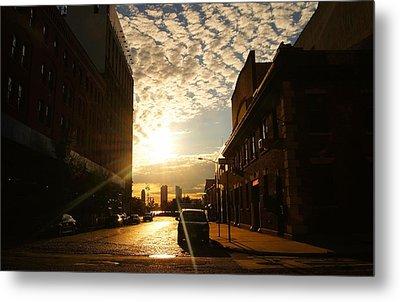 Summer Sunset Over A Cobblestone Street - New York City Metal Print by Vivienne Gucwa