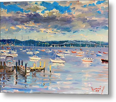 Sun And Clouds In Hudson Metal Print by Ylli Haruni