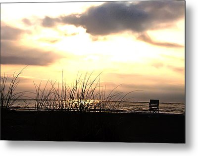 Sun Behind The Clouds On The Beach Metal Print