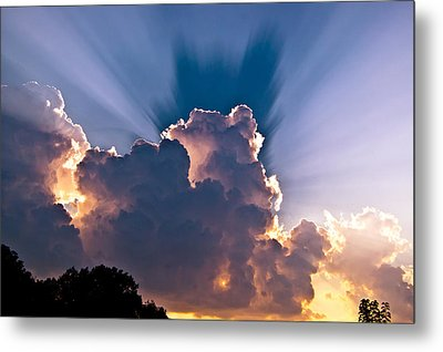 Sun Rays And Clouds Metal Print by Amber Flowers