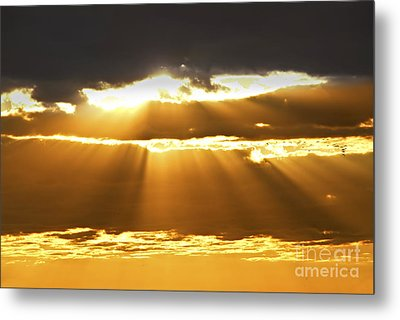 Sun Rays At Sunset Sky Metal Print by Elena Elisseeva