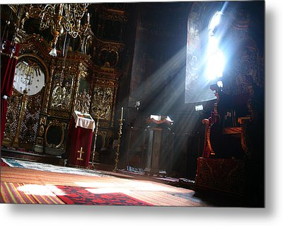 Sun Rays In Orthodox Church Metal Print by Emanuel Tanjala