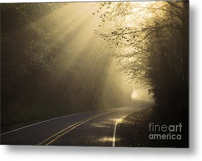 Sun Rays On Road Metal Print by Ron Sanford and Photo Researchers
