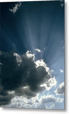 Sun Rays Shining From Behind A Cloud Metal Print by Tony Craddock